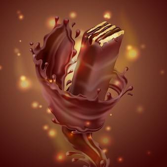 Рекламный баннер, реалистичная хрустящая вафли с брызгами расплавленного шоколада