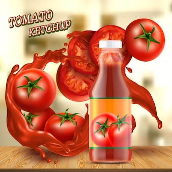 Promotion banner with realistic glass bottle of ketchup, with splashes of red sauce