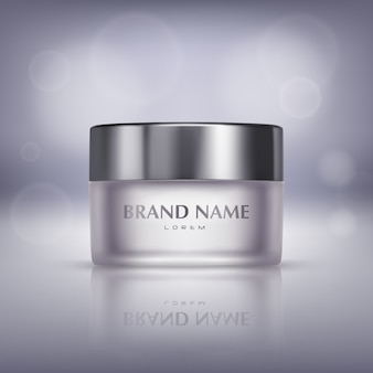 Promotion banner with realistic glass jar of cosmetic cream, bottle with moisturising mask