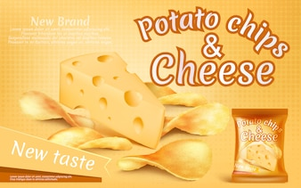 Promotion banner with realistic potato chips and piece of cheese