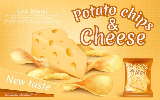Рекламный баннер с реалистичными картофельными чипсами и куском сыра
