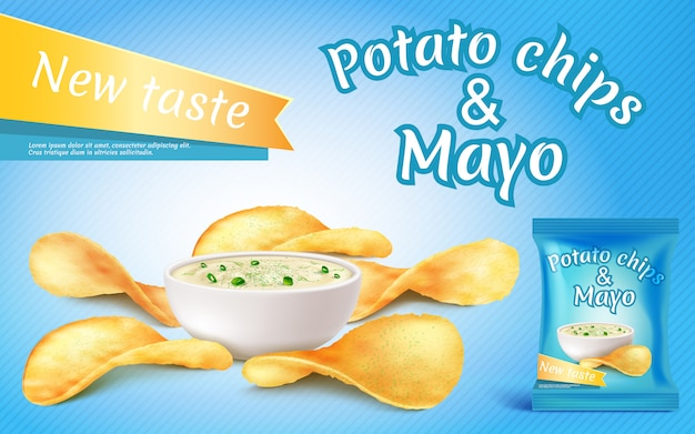 Promotion banner with realistic potato chips and mayo in bowl