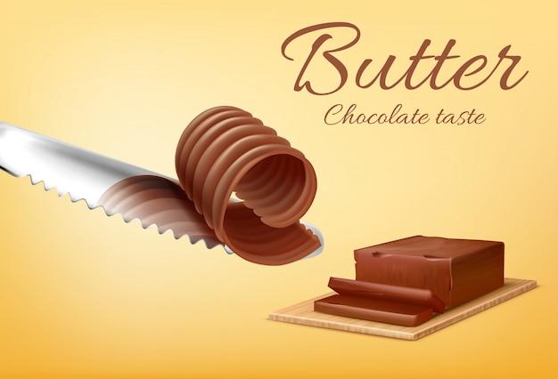 Banner di promozione con bastone realistico di burro al cioccolato sul tagliere e coltello di metallo.