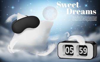 Promotion banner with realistic white pillow, blindfold and alarm clock on blue night background