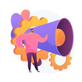 Promozione. uomo del fumetto in piedi con altoparlante. pubblicità, pubblicità, propaganda. giornalista personaggio piatto su sfondo bianco. illustrazione della metafora del concetto isolato di vettore
