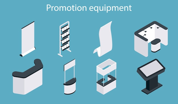 Promotion equipment icon set. isometric white blank exhibition display stand, trade show booth, promotion counter set.