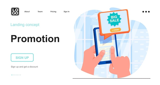 Promotion landing page template