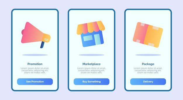 Пакет промо-маркетплейса для шаблона мобильного приложения ui страницы баннера