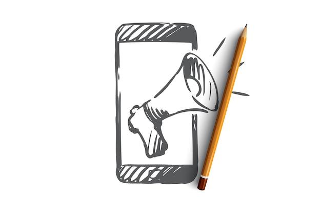 プロモーション、携帯電話、広告、スピーカーのコンセプト。プロモーションコンセプトスケッチのための手描きのスマートフォンとメガホン。
