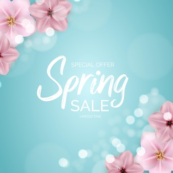 Promotion offer, card for spring sale season with spring plants, leaves and flowers decoration.