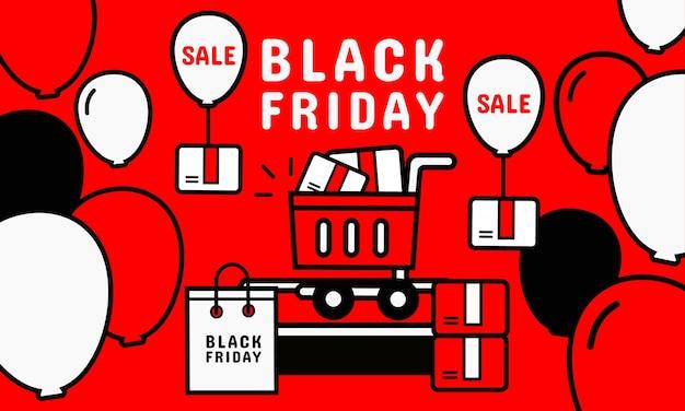 블랙 프라이데이 프로모션. 모바일 화면에서 온라인 쇼핑