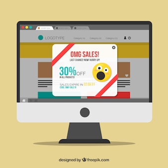 Promotion pop up template with flat design