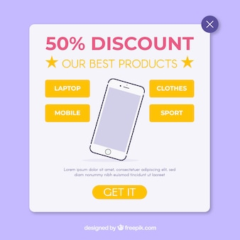 Promotion pop up with flat design