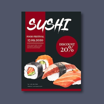 Poster promozionale per il ristorante di sushi