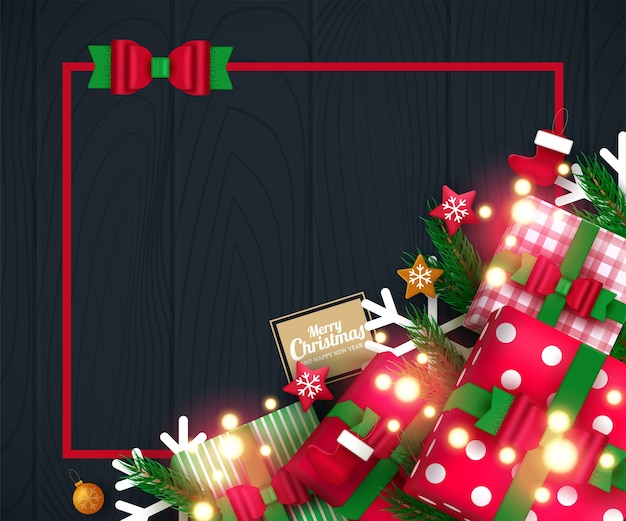 Рекламный плакат с елочными шарами, звездами, подарочными коробками, конфетти и местом для текста.