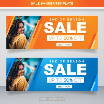 Promotion sale banner template with colorful concept