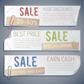 Promotion sale horizontal banners with marketing and advertising offers in vintage style