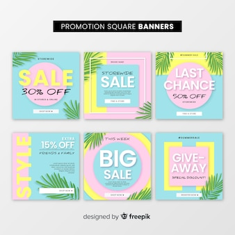 Promotion square banner collection