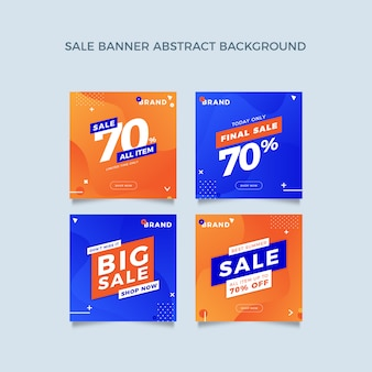 Promotion square banner template collection with liquid design