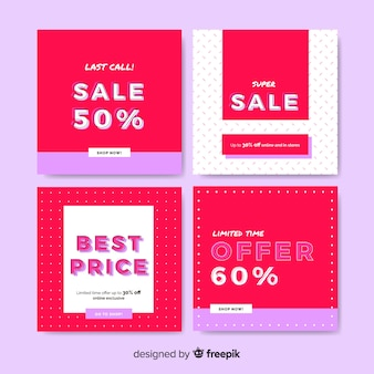 Promotion square banners design