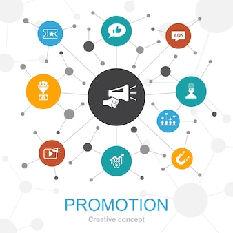 Promotion, trendy web concept with icons. contains such icons as advertising, sales, lead conversion, attract