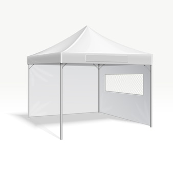 Promotional advertising folding tent vector illustration for outdoor event. Cover frame protection f