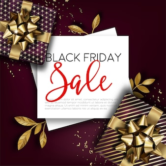 Promotional banner for black friday sale. discounts and reduction of price for autumn event