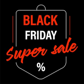 Promotional banner for black friday sale, isolated icon with calligraphic text and bag shape. saving money buying products and gifts on reduced lowered price. advertisement vector in flat style