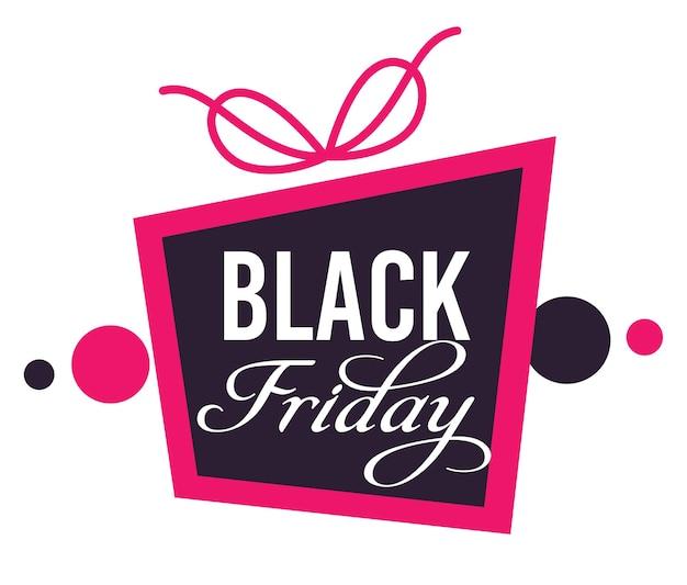 Рекламный баннер для магазинов и магазинов на распродаже в черную пятницу. изолированный значок в виде подарка с перевязанной лентой и каллиграфическим текстом, рекламой и покупками, предложение вектора низкой цены