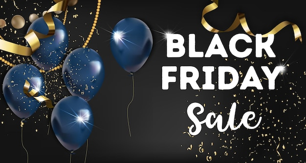 Promotional banner with decorative inflatable balls and gold serpentine tinsels. advertisement for autumn holiday, black friday celebration. buying products and shopping. vector in flat style