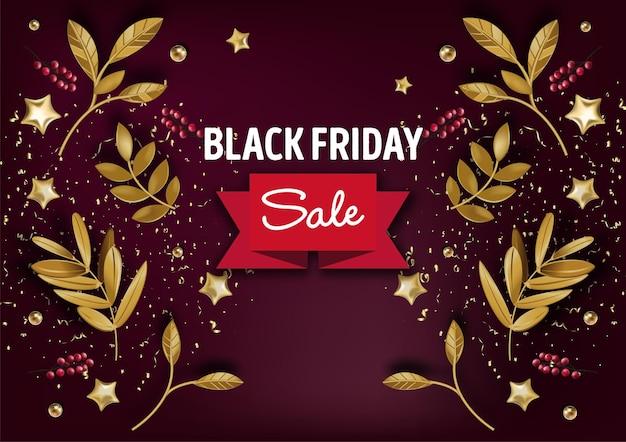 リボンと装飾的な葉のプロモーションバナー。ブラックフライデーの割引とショップや店舗のセール。値下げとコストダウンで秋の買い物。フラットスタイルのベクトル