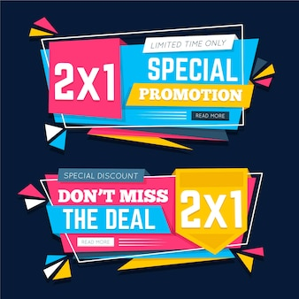 Promotional banners with abstract shape collection