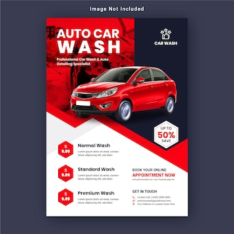 Promotional car wash and automobile repair flyer template premium vector