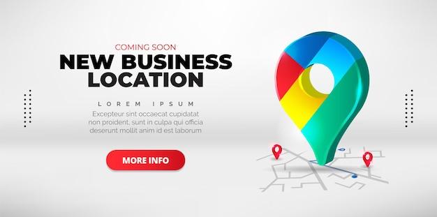 새로운 비즈니스 위치를 소개하는 프로모션 디자인