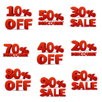 Promotional discount store vector signs