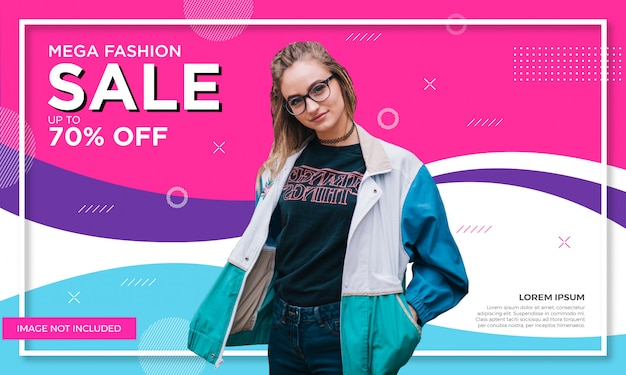 Promotional fashion sale banner template