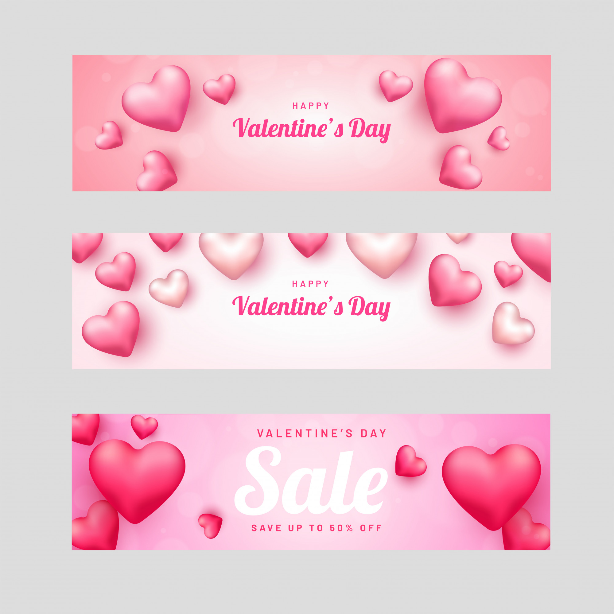 Promotional header or banner set for Valentine's Day decorated