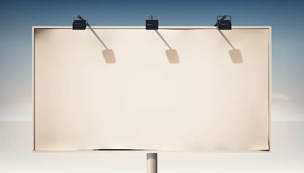 Promotional horizontal billboard on metallic column with blank canvas and spotlights isolated