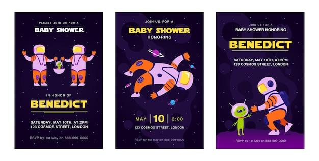 Рекламное приглашение с летающими космонавтами