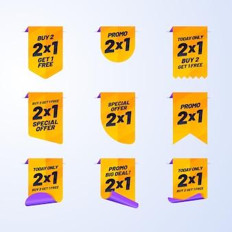 Etichette promozionali con pack offerte speciali