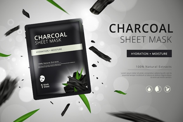 Promotional realistic charcoal sheet mask ad