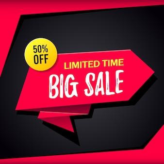 Promotional sale banner template design. bif sale limited time 50 percent off
