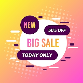 Promotional sale banner template design. big sale 50 percent off today only