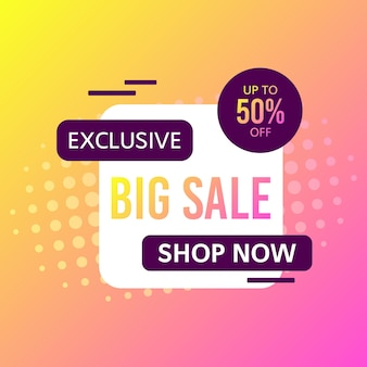 Promotional sale banner template design. exclusive big sale 50 percent off shop now