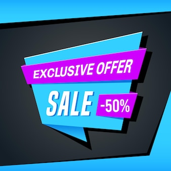 Promotional sale banner template design. exclusive offer sale 50 percent off