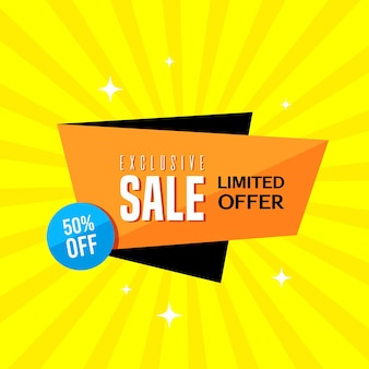Promotional sale banner template design. exclusive sale limited offer 50 percent off