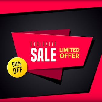 Promotional sale banner template design. exclusive sale limited sale 50 percent off