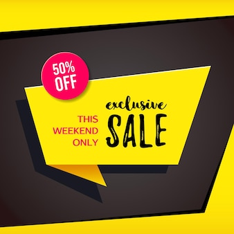 Promotional sale banner template design. exclusive sale this weekend only 50 percent off