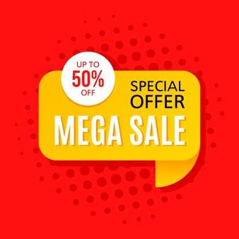 Promotional sale banner template design. mega sale special offer 50 percent off