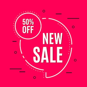 Promotional sale banner template design. new sale 50 percent off